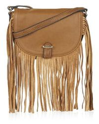 Topshop Tassel Saddle Bag brown - Lyst