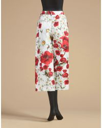 Dolce & Gabbana | Wide Leg Trousers In Printed Mikado | Lyst