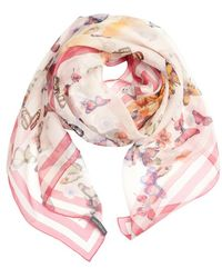 Alexander McQueen Pink and White Butterfly Printed Silk Scarf - Lyst