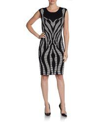 Calvin Klein Cap-Sleeve Graphic Knit Dress - Lyst