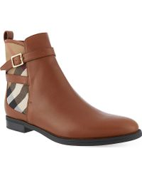 Burberry Richardson Leather Ankle Boots - Lyst