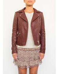 VEDA | Dallas Leather Jacket Bordeaux | Lyst