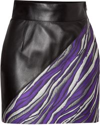 Fausto Puglisi Leather/Jacquard Mini-Skirt - Lyst