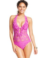 Kenneth Cole Reaction Lace Ruffled One-Piece Swimsuit - Lyst