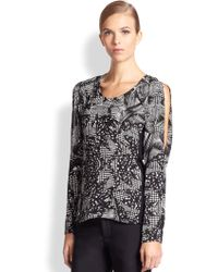 Yigal Azrouel Silk Graphic Print Top - Lyst
