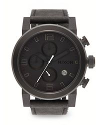 Nixon Black Stainless Steel Chronograph Strap Watch - Lyst