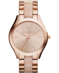 Michael Kors Slim Runway Rose Gold-Toned and Acrylic Watch - Lyst