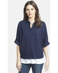 Eileen Fisher Classic Collar Stretch Cotton Shirt - Lyst