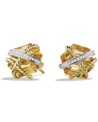 David Yurman Cable Wrap Earrings with Champagne Citrine and Diamonds in Gold - Lyst
