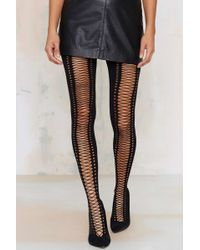 Nasty Gal - Piece Of Opaque Lace-up Tights - Lyst