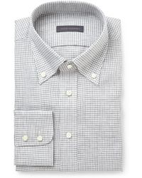 Thom Sweeney Gray Gingham-Check Linen Shirt - Lyst