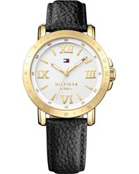 Tommy Hilfiger Womens Black Leather Strap Watch 38mm - Lyst