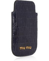 Miu Miu Croc-effect Glossed-leather Iphone Sleeve - Lyst