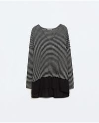 Zara Gray V-neck T-shirt - Lyst