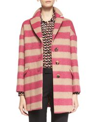 RED Valentino Button-Front Striped Wool Blanket Coat - Lyst