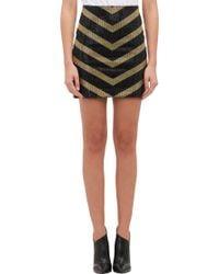 Balmain Embellished Chevron Mini Skirt - Lyst
