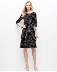 Ann Taylor Petite Polka Dot Tucked Dress - Lyst