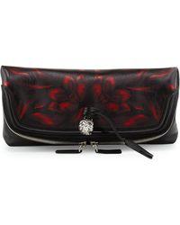Alexander McQueen Tulipprint Foldover Clutch Bag - Lyst