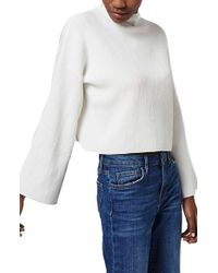 Topshop | Funnel Neck Ribbed Crop Top | Lyst
