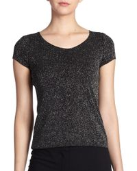 Armani Collezioni Short Sleeve All-Over Sparkle Top - Lyst