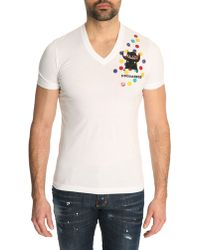 DSquared² White Leather Patch Vinyl Tshirt - Lyst