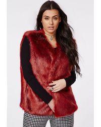 Missguided Plus Size Faux Fur Gilet Oxblood - Lyst