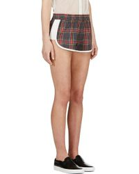 Filles A Papa - Red And Blue Plaid Piped Kristen Shorts - Lyst
