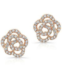 Anne Sisteron 14Kt Rose Gold Diamond Floral Stud Earrings - Lyst