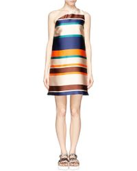 MSGM Stripe One-Shoulder Dress multicolor - Lyst
