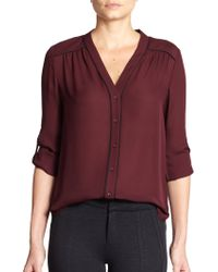 Vince Contrast Piping Silk Blouse - Lyst
