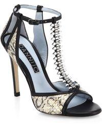 DANNIJO - Salma Crystal T-Strap Snakeskin Sandals - Lyst