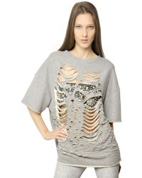 Jay Ahr - Destroyed Cut Outs Cotton Fleece Top - Lyst