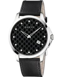 Gucci Ya126305 G-Timeless Stainless Steel, Diamond And Leather Watch - For Men - Lyst