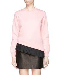 Neil Barrett Asymmetric Pleat Hem Bonded Jersey Sweatshirt pink - Lyst