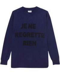 Orwell + Austen Cashmere - Je Ne Regrette Sweater Navy & Black - Lyst