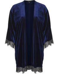Topshop Petite Velvet Lace Kimono - Lyst