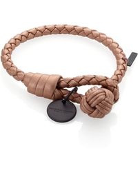 Bottega Veneta Intrecciato Leather Thin Wrap Bracelet brown - Lyst