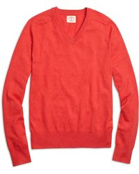 Brooks Brothers Cotton Cashmere V-neck Sweater - Lyst
