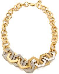 Tory Burch - Hexagon Short Necklace Shiny Goldtory Silver - Lyst