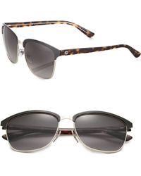 Gucci | Half-rim 57mm Square Sunglasses | Lyst
