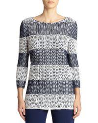 St. John Striped Pointelle Knit Sweater - Lyst