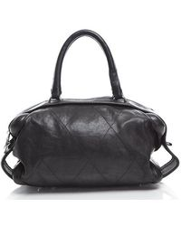 Chanel Pre-owned Lambskin Quilted Stitch Large Bowler Bag - Lyst