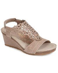 Aetrex - 'francesca' Leather Wedge Sandal - Lyst