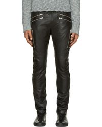 Diesel Black Leather P_Hermas Trousers - Lyst