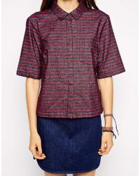 Asos Boxy Shirt In Textured Stripe - Lyst