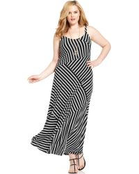 Vince Camuto Plus Size Sleeveless Striped Maxi Dress - Lyst