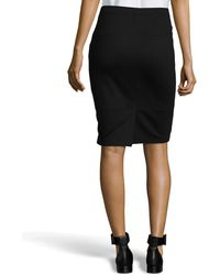 Halston Paneled Leather Pencil Skirt - Lyst