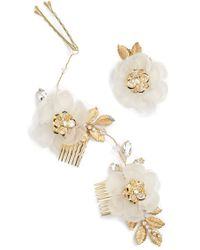 Nestina Accessories - Crystal Flower Bridal Hair Comb And Pin - Metallic - Lyst
