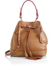 Prada Tartan-Plaid Leather Shoulder Bag in Green (WHITE) | Lyst