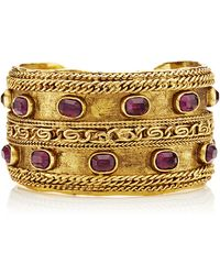 What Goes Around Comes Around Chanel Wide Gold Cuff with Stones - Lyst